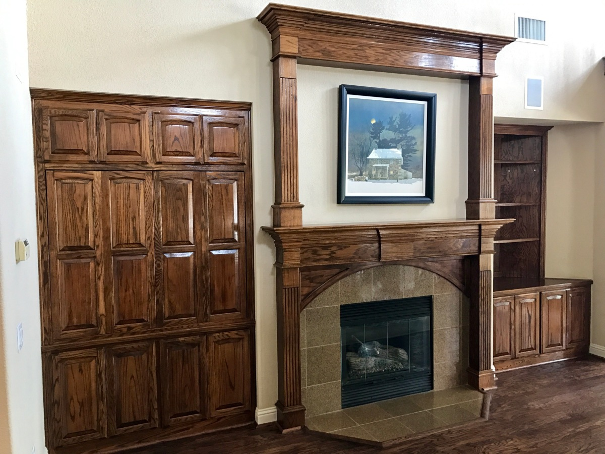 Mantle and Entertainment Center Refinishing